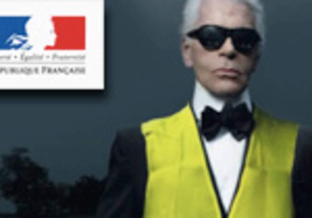 Karl Lagerfeld défile pour la Sécurité Routière